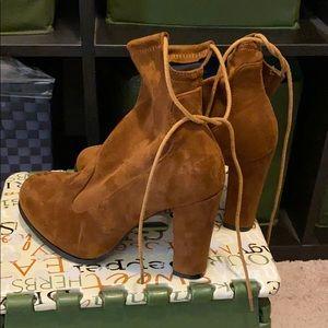 Brown tie ankle booties